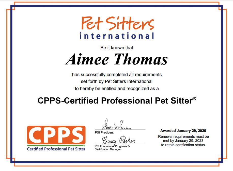 Pet Sitters International - Certified Pet Sitter